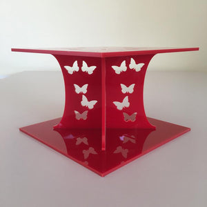 Butterfly Square Wedding/Party Cake Separator - Red