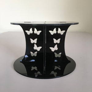 Butterfly Design Round Wedding/Party Cake Separator - Black