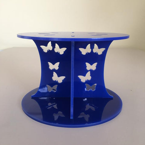 Butterfly Design Round Wedding/Party Cake Separator - Blue