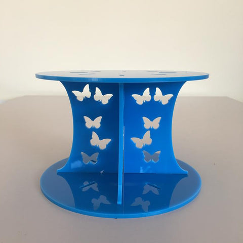 Butterfly Design Round Wedding/Party Cake Separator - Bright Blue