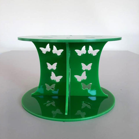 Butterfly Design Round Wedding/Party Cake Separator - Bright Green