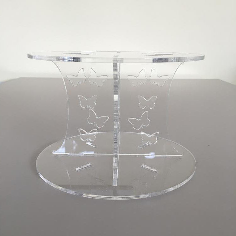 Butterfly Design Round Wedding/Party Cake Separator - Clear