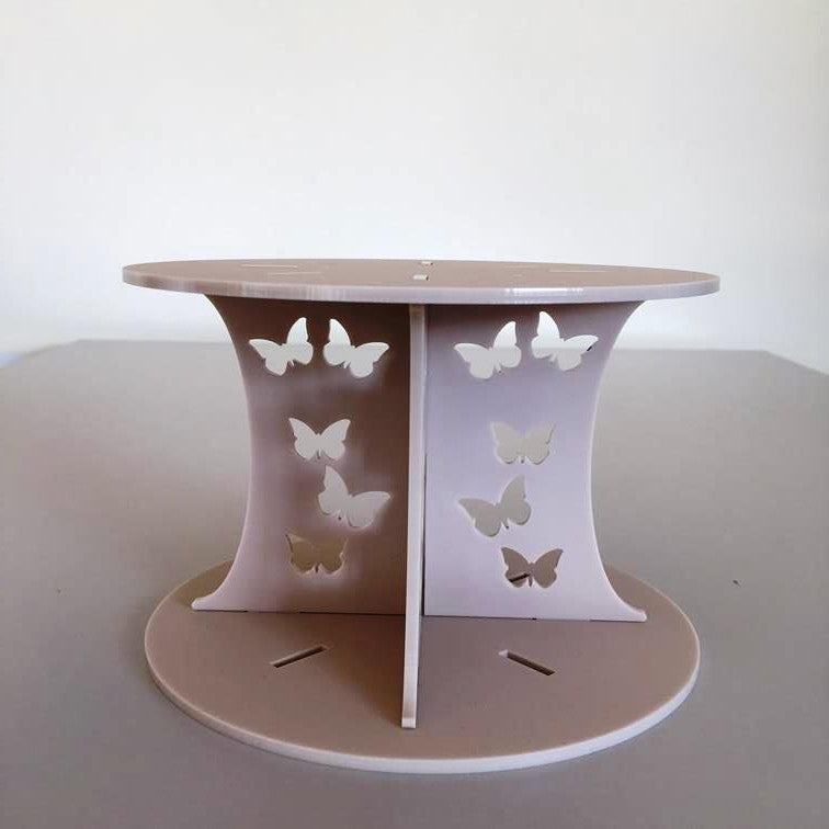 Butterfly Design Round Wedding/Party Cake Separator - Latte