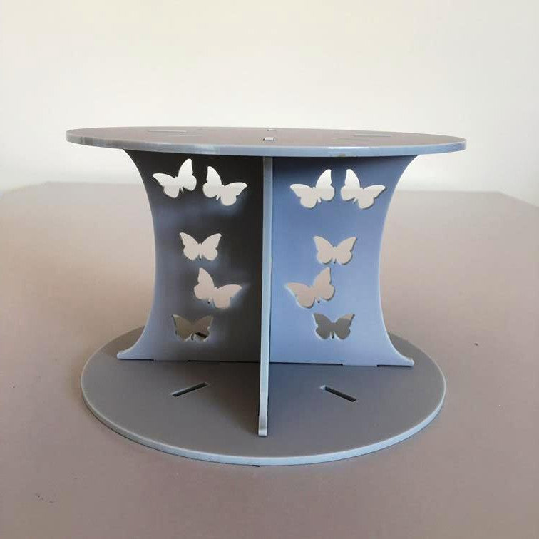 Butterfly Design Round Wedding/Party Cake Separator - Light Grey