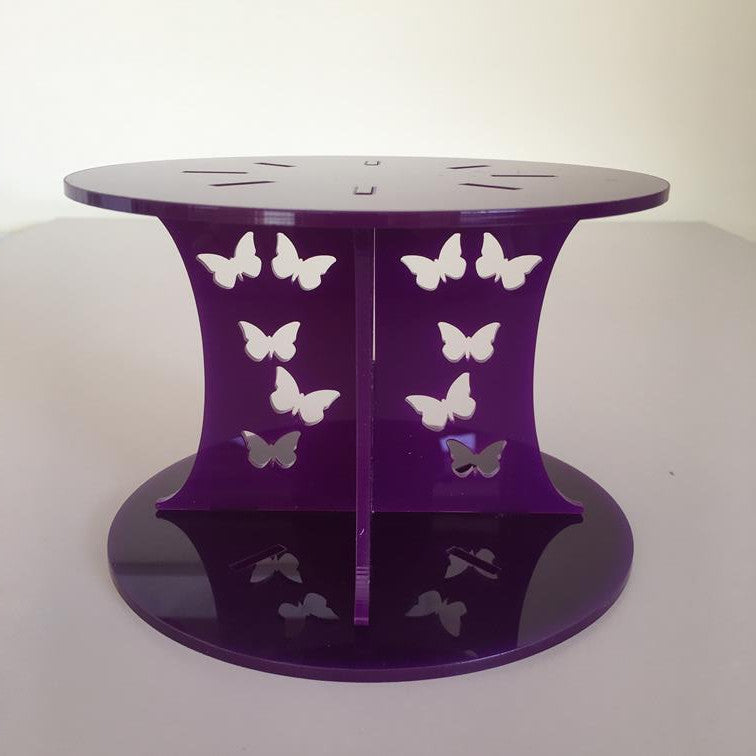 Butterfly Design Round Wedding/Party Cake Separator - Purple