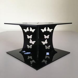 Butterfly Square Wedding/Party Cake Separator - Black