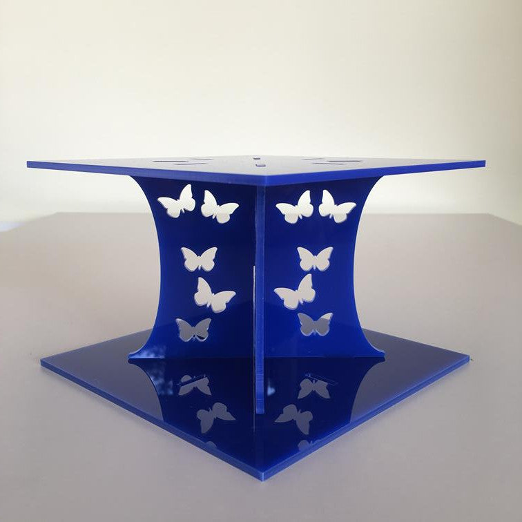 Butterfly Square Wedding/Party Cake Separator - Blue