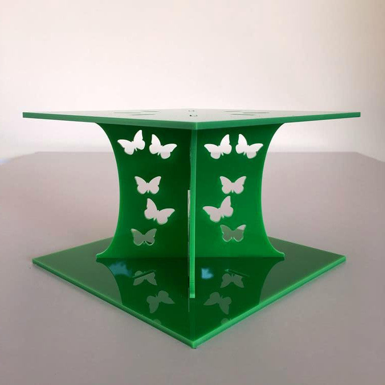 Butterfly Square Wedding/Party Cake Separator - Bright Green