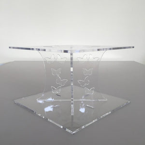 Butterfly Square Wedding/Party Cake Separator - Clear