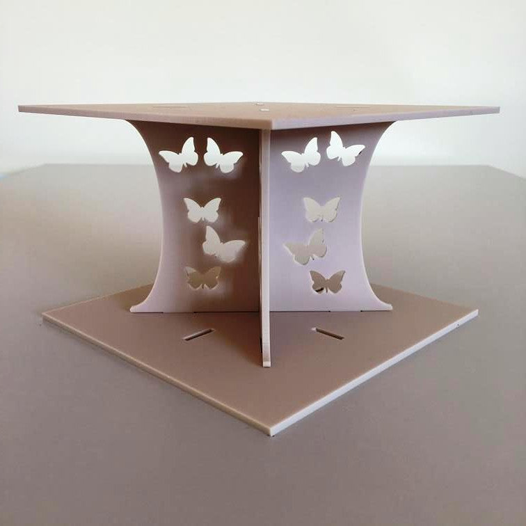 Butterfly Square Wedding/Party Cake Separator - Latte
