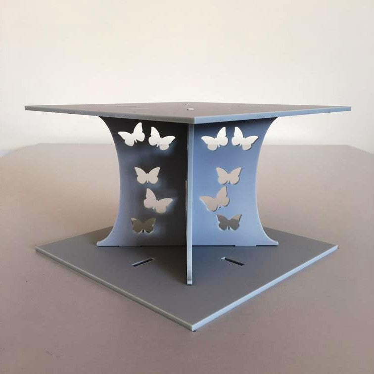 Butterfly Square Wedding/Party Cake Separator - Light Grey