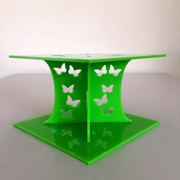 Butterfly Square Wedding/Party Cake Separator - Lime Green