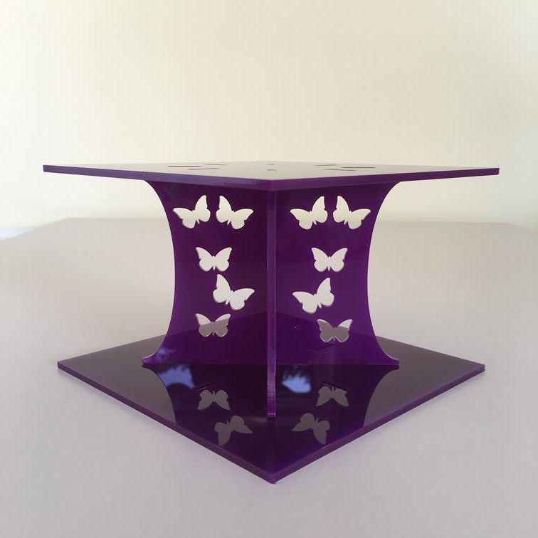 Butterfly Square Wedding/Party Cake Separator - Purple