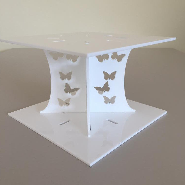 Butterfly Square Wedding/Party Cake Separator - White