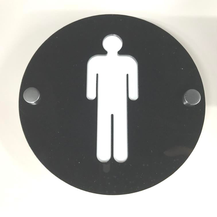 Round Male Toilet Sign - Black & White Gloss Finish
