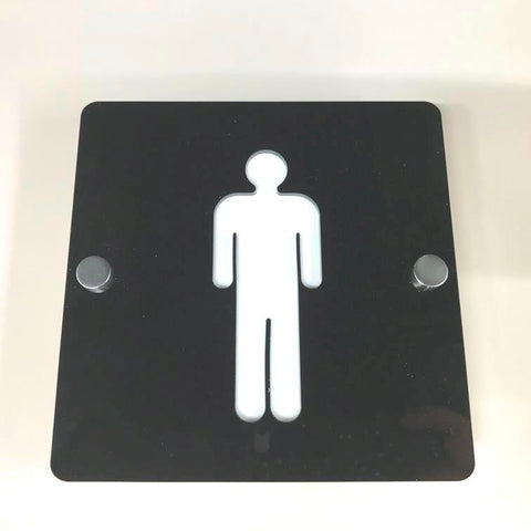 Square Male Toilet Sign - Black & White Gloss Finish