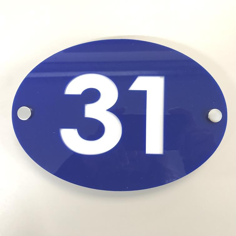 Oval House Number Sign - Blue & White Gloss Finish