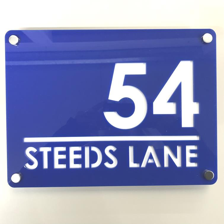 Large Rectangular House Number & Street Name Sign - Blue & White Gloss Finish