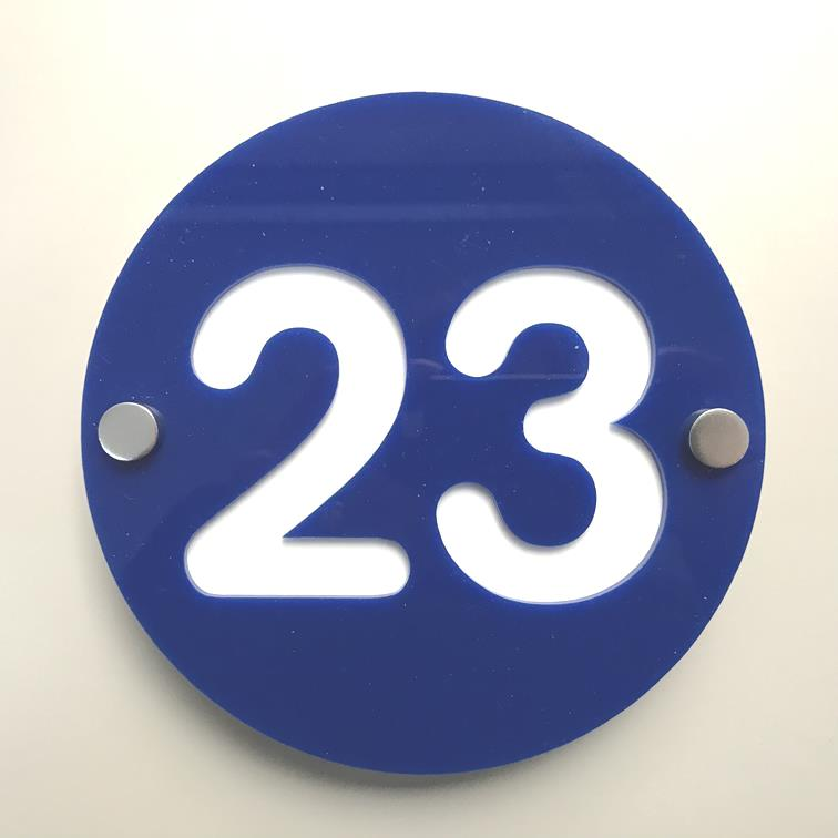 Round Number House Sign - Blue & White Gloss Finish
