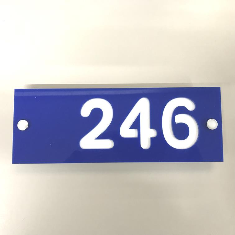 Rectangular Number House Sign - Blue & White Gloss Finish