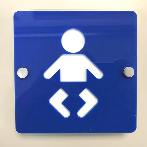 Square Baby Changing Toilet Sign - Blue & White Gloss Finish