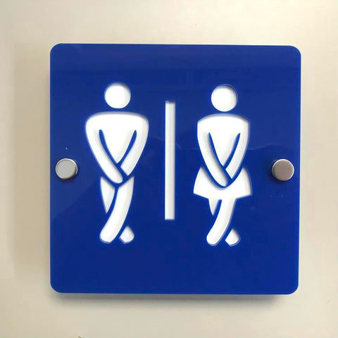 Square Crossed Legged Male & Female Toilet Sign - Blue & White Gloss Finish