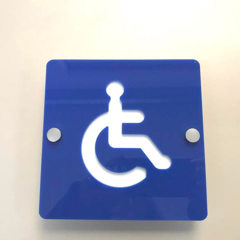 Square Disabled Toilet Sign - Blue & White Finish