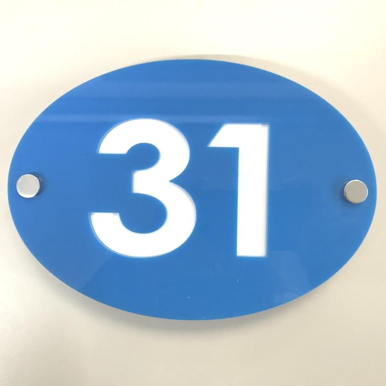 Oval House Number Sign - Bright Blue & White Gloss Finish