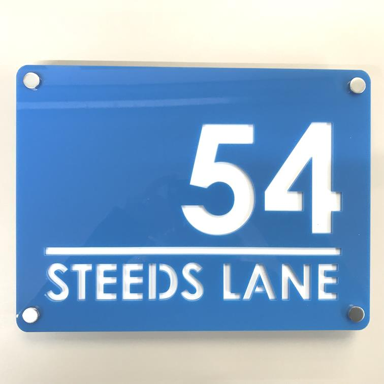 Large Rectangular House Number & Street Name Sign - Bright Blue & White Gloss Finish