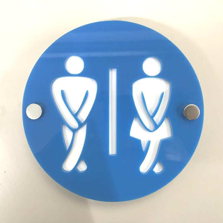 Round Cross Legged Male & Female Toilet Sign - Bright Blue & White Gloss Finish