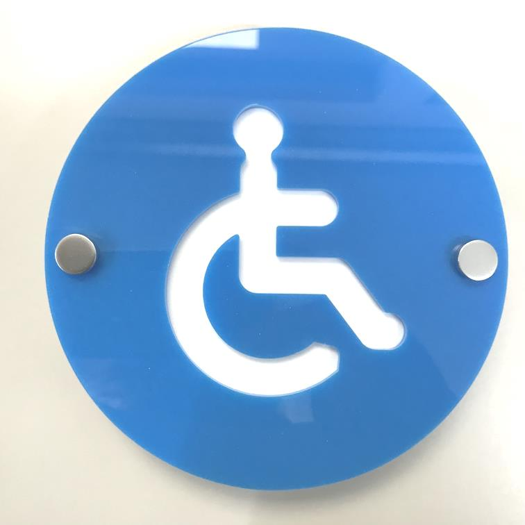 Round Disabled Toilet Sign - Bright Blue & White Gloss Finish