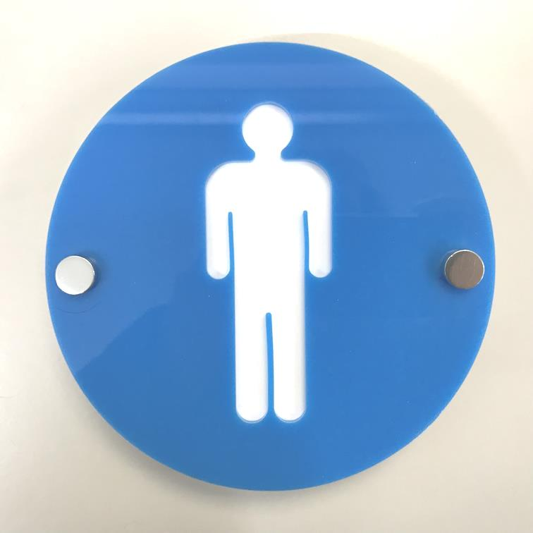 Round Male Toilet Sign - Bright Blue & White Gloss Finish