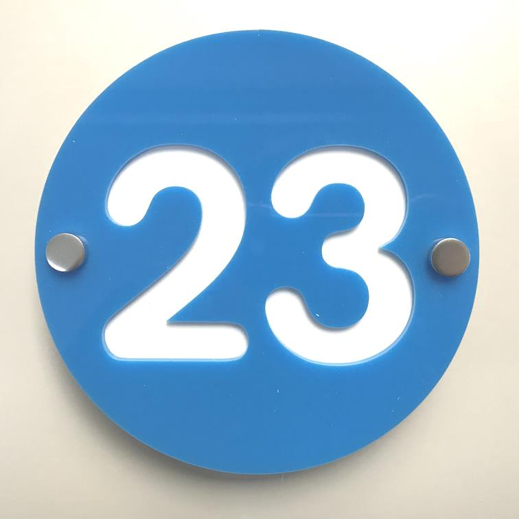 Round Number House Sign - Bright Blue & White Gloss Finish