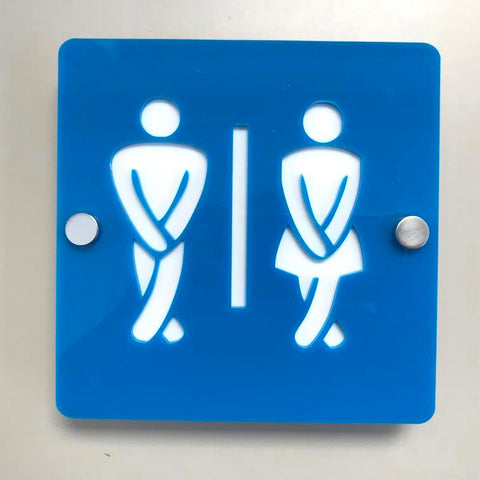Square Crossed Legged Male & Female Toilet Sign - Bright Blue & White Gloss Finish