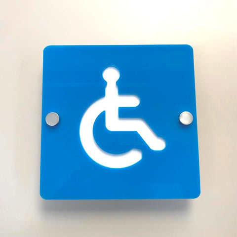 Square Disabled Toilet Sign - Bright Blue & White Finish