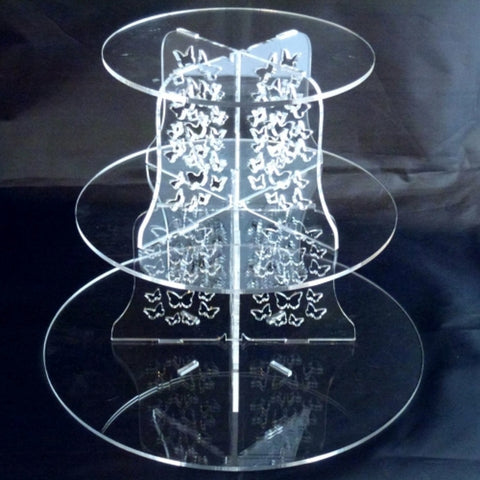 Three Tier Butterfly Design Round Cake Stand