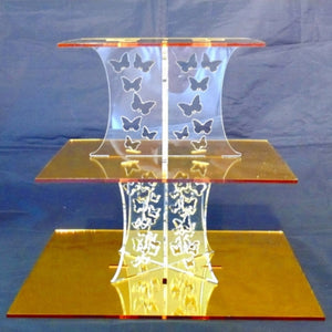 Three Tier Butterfly Design Square Cake Stand