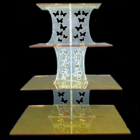 Four Tier Butterfly Design Square Cake Stand
