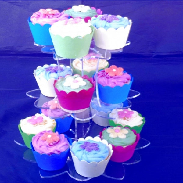 Three Tier Flower Shaped Cake Stand