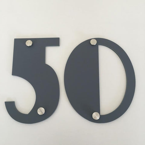 Graphite Matt, Drilled Finish, House Numbers - Art Deco