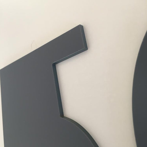Graphite Matt, Flat Finish, House Numbers - Art Deco