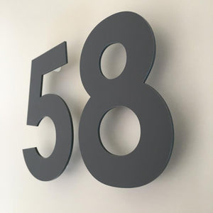 Graphite Matt, Floating Finish, House Numbers - Century Gothic