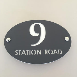 Oval House Number & Street Name Sign - Graphite & White Matt Finish