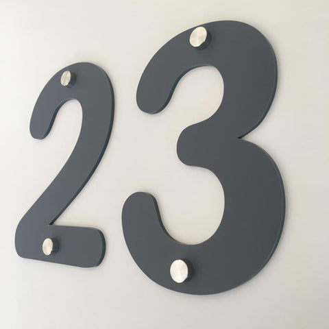 Graphite Matt, Drilled Finish, House Numbers - Rounded