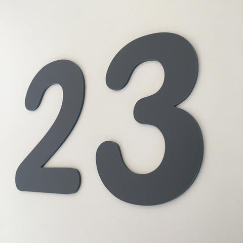 Graphite Matt, Flat Finish, House Numbers - Rounded