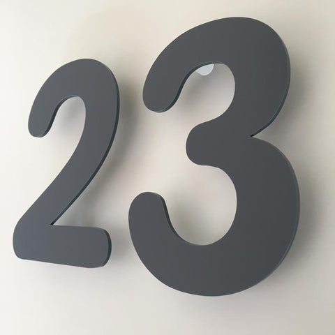 Graphite Matt, Floating Finish, House Numbers - Rounded