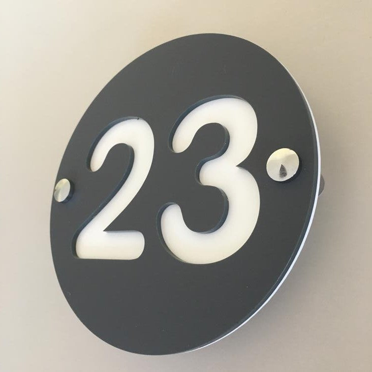 Round Number House Sign - Graphite & White Matt Finish