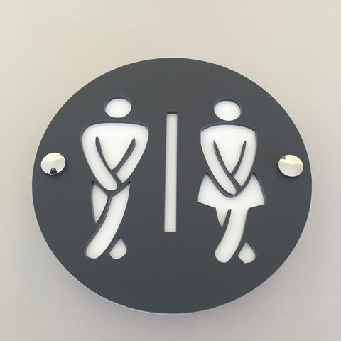 Round Cross Legged Male & Female Toilet Sign - Graphite & White Mat Finish
