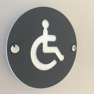 Round Disabled Toilet Sign - Graphite & White Mat Finish