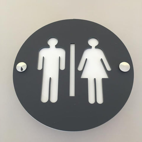 Round Male & Female Toilet Sign - Graphite & White Mat Finish